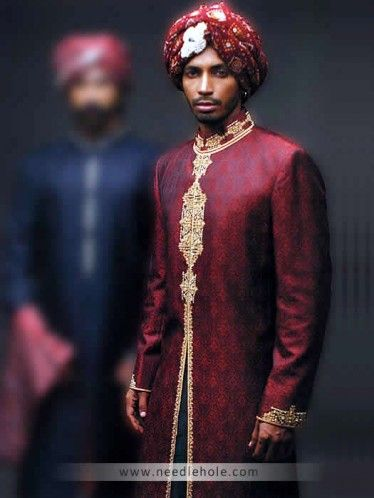 #Jamawar #wedding sherwani for men in maroon color, embellished collar, front and sleeves cuffs http://www.needlehole.com/jamawar-wedding-sherwani-for-men-in-maroon-color.html #Amir adnan #wedding sherwani and #sherwani suits usa. Pakistani wedding sherwani collection and indian men's #sherwani suits collection by amir adnan men's stores in london