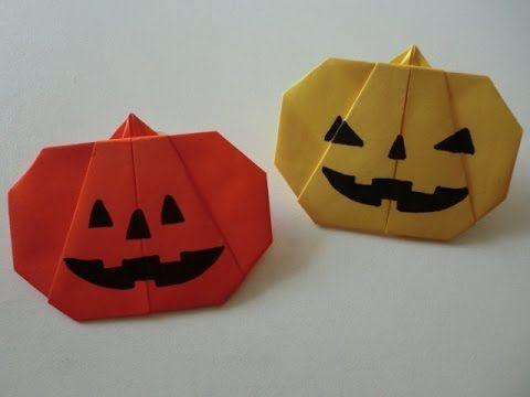 """【ハロウィン】折り紙 ジャック・オ・ランタン(かぼちゃ)の折り方 How to Origami """"Jack-o'-Lantern"""""""