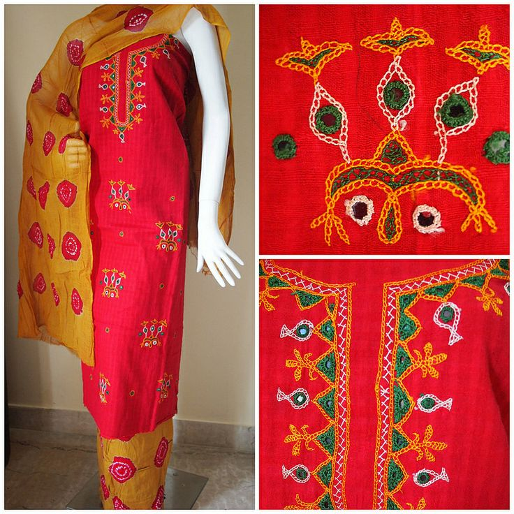 Hand embroidery and gujarati bandhani salwar kameez rs