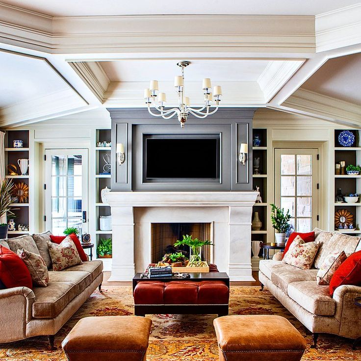 Statement ceilings   Family room, Custom fireplace, Casual ... on Fireplace Casual Living id=37000