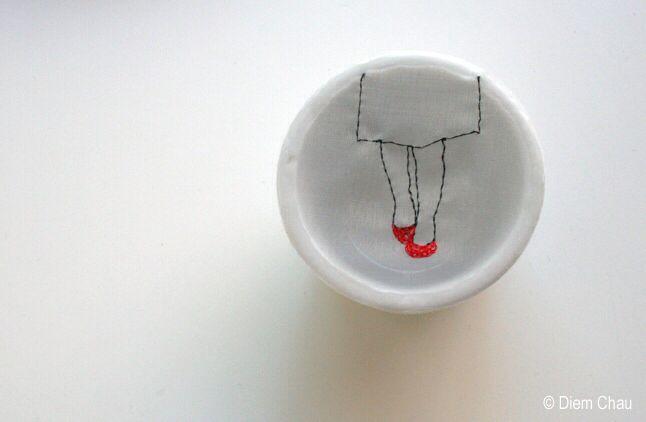 Porcelain cup (silk and thread) by diem chau #diemchau #porcelaincup