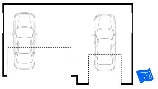 Break up overwhelming garage frontage by using an off-set arrangement. Click through for more on garage design and home design.