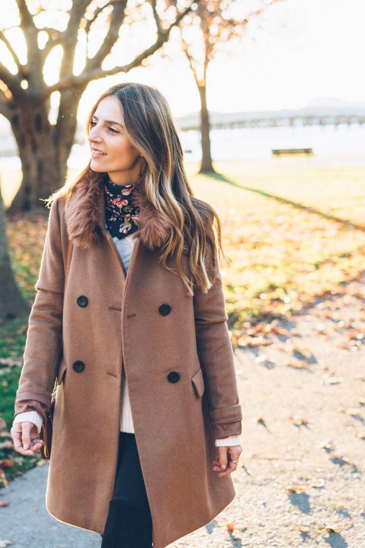 Jess Kirby wears an Ann Taylor coat and silk scarf