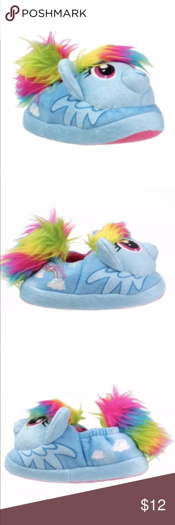 My Little Pony Rainbow Dash Slippers Small 5/6 NEW Hasbro My Little Pony Rainbow Dash Plush Toddler Girls Slippers Shoe Small 5/6 NWT. Take Rainbow Dash wherever you go in comfort and style!  100% Polyester plush velvet with faux fur trim  Soft lining with elastic collar  Cotton twill sole with plasticized dot grips to prevent slipping. Hasbro My Little Pony Shoes Slippers