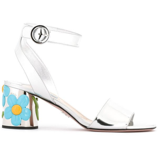 Prada - floral heel sandals - women - Goat Skin/Leather - 37.5 ($790) ❤ liked on Polyvore featuring shoes, sandals, grey, leather shoes, metallic heeled sandals, metallic shoes, heeled sandals and floral sandals
