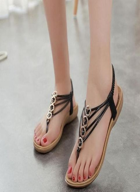Simple Ladies Sandals With Thin Black Strips 905262c0b728