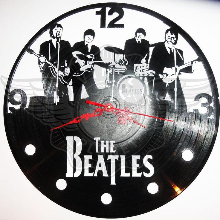 VINYL PLANET Wall Clock THE BEATLES  Gift Home Unique Decor upcycled 12''