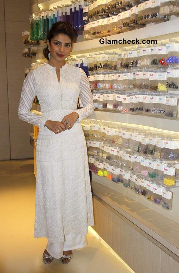 Priyanka Chopra in white anarkali suit by Anita Dongre