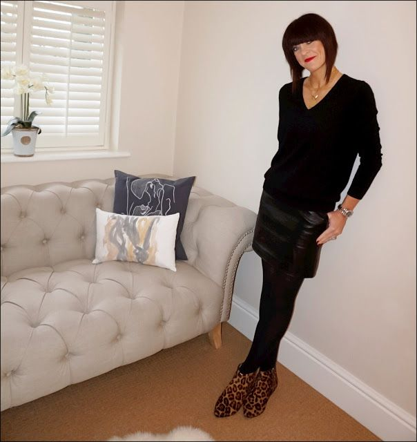 My Midlife Fashion, Boden relaxed fit cashmere jumper, marks and spencer faux leather a line skirt, boden leopard print pixie boots
