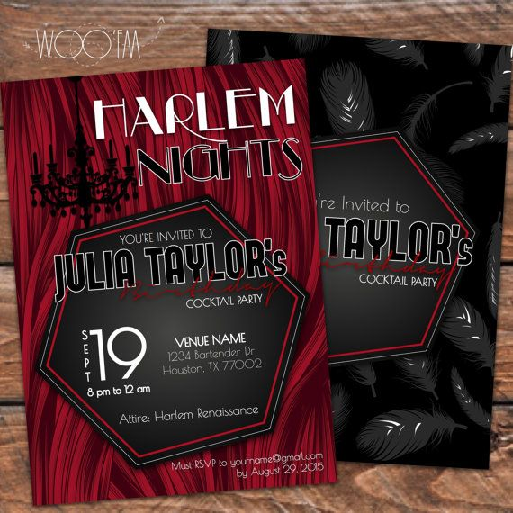Harlem Nights Themed Birthday Invitation Printable DIY by Wooem