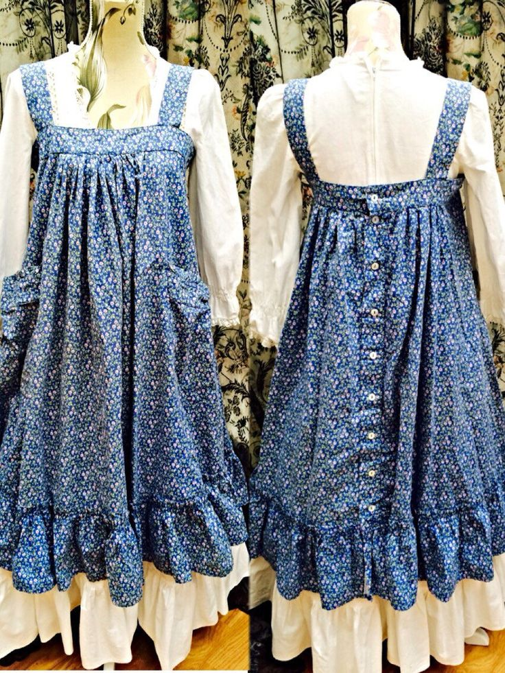 Rare vintage 70s laura ashley blue floral over smock pinafore dress uk 10 -12 US 6-8 by LovelyLauraAshley on Etsy https://www.etsy.com/listing/226189529/rare-vintage-70s-laura-ashley-blue