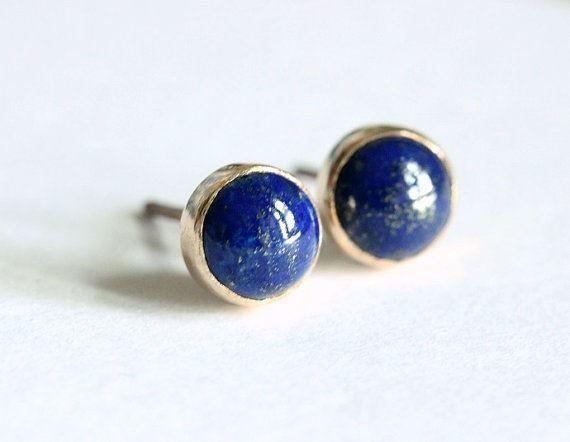 Denim Lapis Studs in Sterling Silver Studs with Gemstones Blue Post Earrings Lapis