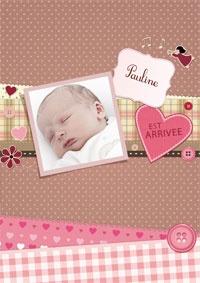 Scrapbooking pour une fille, faire-part personnalisable avec la photo de votre petite princesse. http://www.dromadaire.com/faire-part-naissance