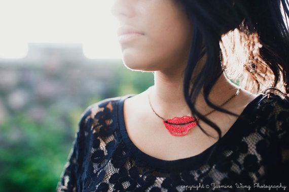 Embroidered Lace Hot Lips in Red and Hot Pink by TheseWoods