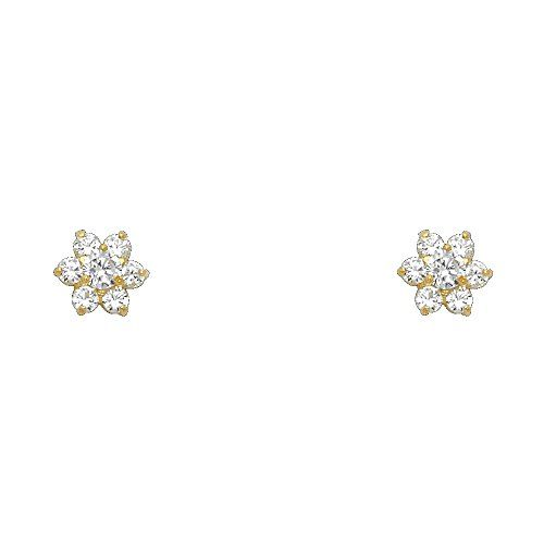 14K Yellow Gold CZ Flower Stud Earrings   The earrings feature a pair of 14k gold. They also feature a shiny polished finish and make the perfect gift for yourself or a loved one. Read  more http://shopkids.ca/kids-girl/14k-yellow-gold-cz-flower-stud-earrings