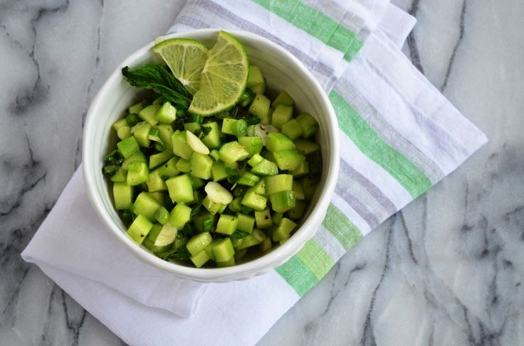 This cucumber & mint salsa is great over grilled meats & fish. So fresh, so green!