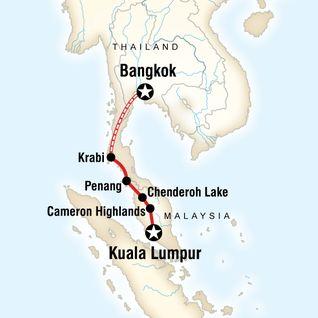 Map of Kuala Lumpur to Bangkok Adventure