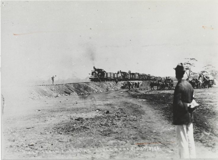 5001B/134: First train entering Coolgardie 23 March 1896. http://encore.slwa.wa.gov.au/iii/encore/record/C__Rb4589905__SFirst%20train%20entering%20Coolgardie%20__Orightresult__U__X6?lang=eng&suite=def