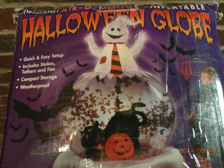 Air o motion inflatable halloween globe large ghost black cat & bats (6feet)