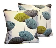 Sanderson Dandelion Clocks 50s Retro Print Cushion Cover Chaffinch Aqua Blue col
