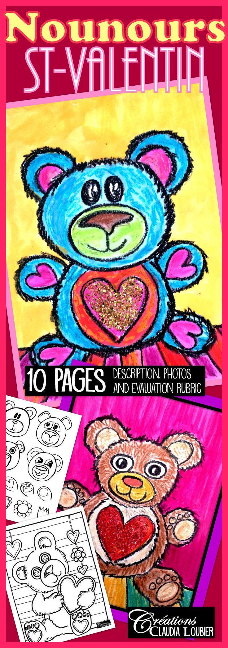 Voici un projet pour la St-Valentin. Maternelle et plus. Nous travaillerons les formes arrondies. Vous aurez besoin de crayons de cire et de gouache en pain. Très simple, mais efficace. Vous pouvez aussi utiliser ce projet pour créer une carte. Démarche, photos et grille d'évaluation incluses. Un dessin à colorier pour les plus rapide à la fin du document. Des exemples de visages, de pattes et de motifs sont aussi inclus. Bonne St-Valentin ! :)