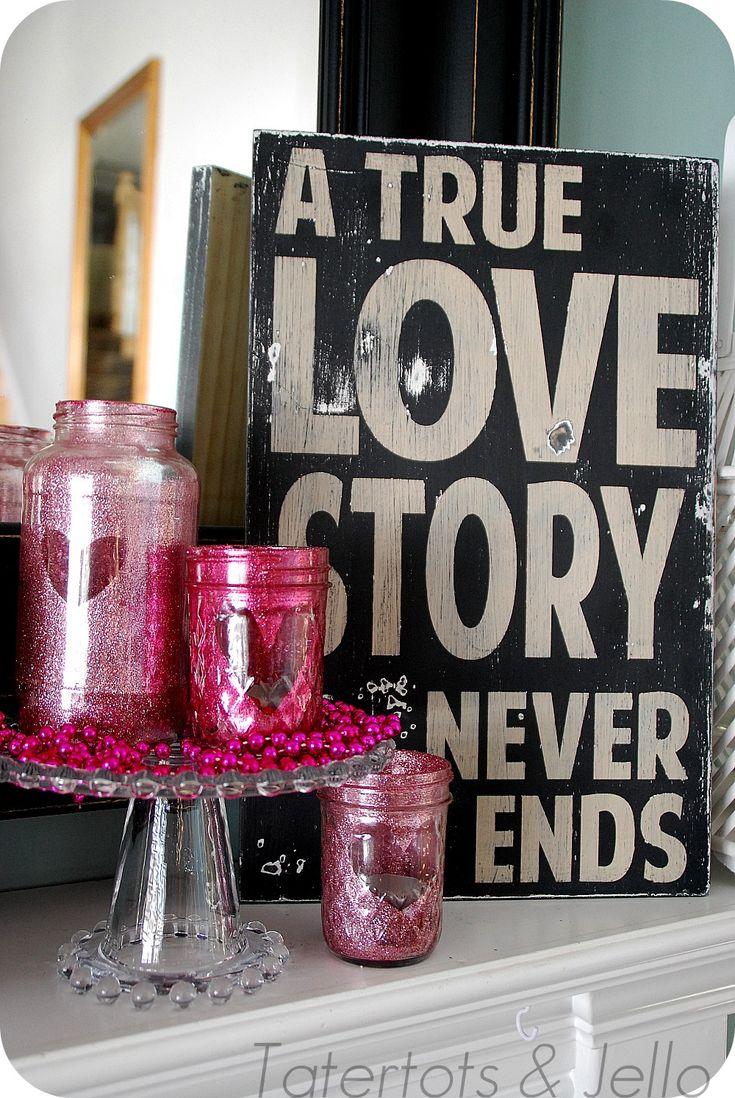 DIY glitter Valentine mason jar votives