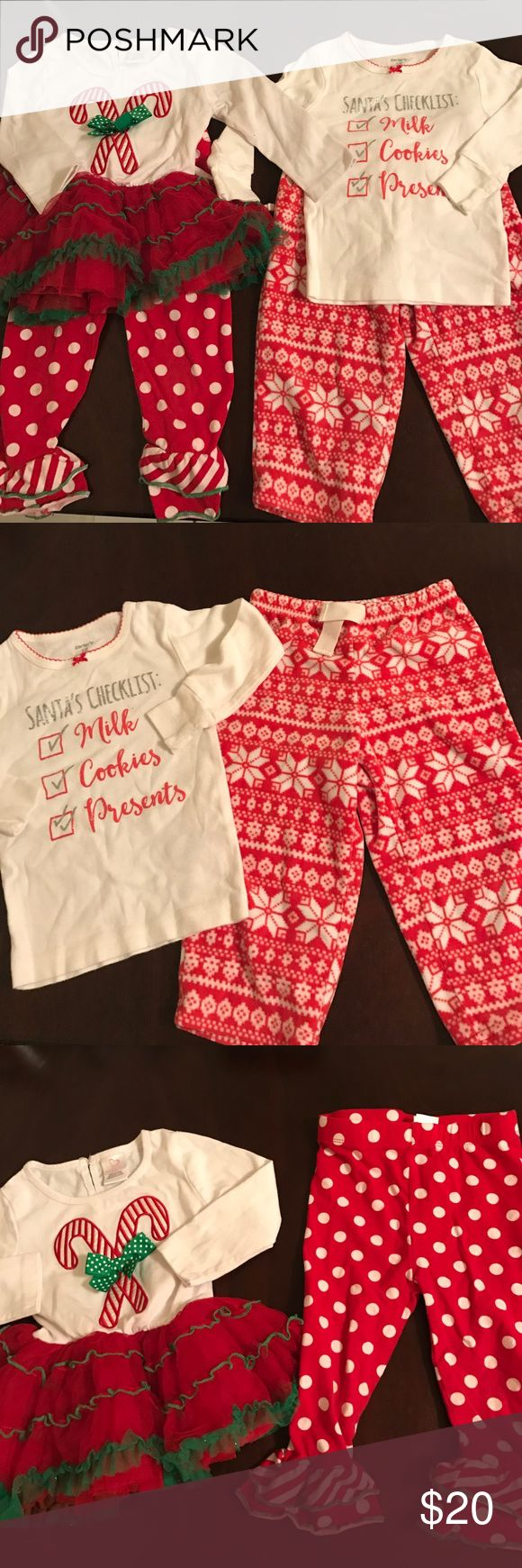 Christmas bundle for 18 months Christmas bundle for 18 months: includes xmas pjs one pair of fleece red bottoms with white snowflake pattern.snug fit long sleeve top with Santas checklist in glitter letters. One xmas morning outfit. Red legging bottoms with white polka dots and ruffled around ankles. Green trim. One long sleeve white top with candy canes and green and white polka dot ribbon. Red Tutu bottom with green trim on each layer. sparkles throughout. Excellent condition. Matching…