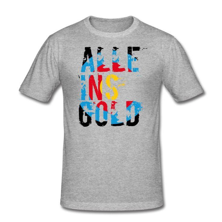 """Schriftzug """"Alle ins Gold"""" in Zielscheiben-Optik – die Grußformel für alle Bogenschützen und Bogensport-Fans."""