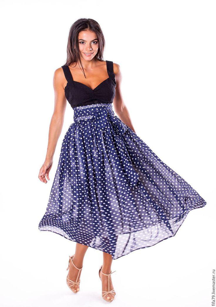 Купить Темно синяя Миди Юбка В Горошек из Шифона - тёмно-синий, шифоновая юбка