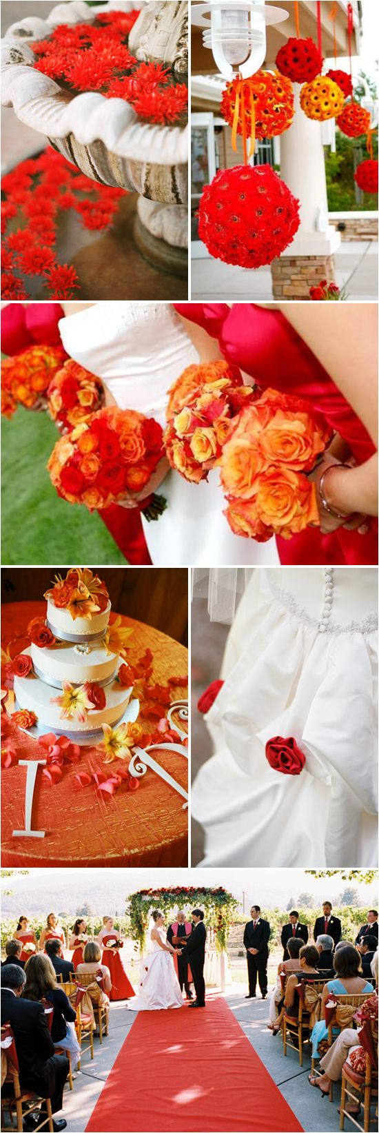 "Despite the VIBRANT Color... the floating flowers, pomanders, round bouquet of roses, flower adorned 3 tier cake and aisle runner represent a very ""Traditional Style""  (Orange and red wedding)."
