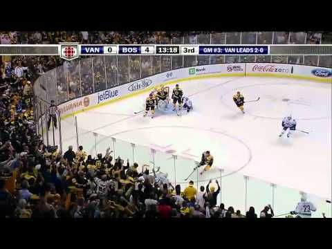 """Tim Thomas runs over Henrik Sedin 6/6/11 - Game 3 Stanley Cup Finals - says, """"Get outta my crease!"""""""