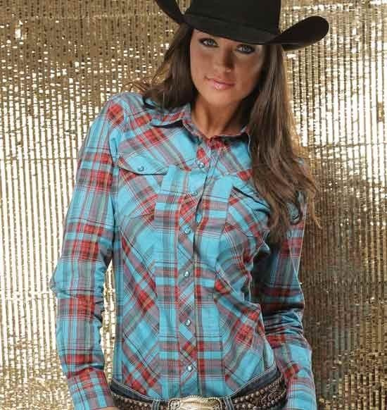 Cruel girl ladies turquoise and red shimmer plaid snap for Ranch dress n rodeo shirts