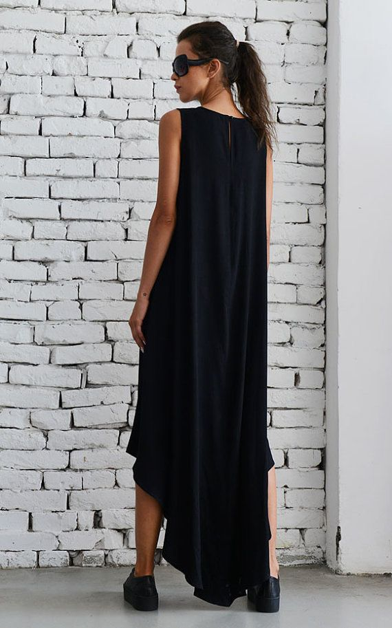 Black Asymmetric Dress/Oversize Loose Tunic/Plus от Metamorphoza