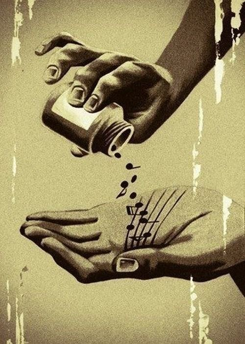 So this is a drawing/painting of someone pouring out musical notes into their hand. Music is important being it can make people feel good. I live in a house filled with musicians and i am learning how to make music myself. One of my roommates makes electronic music and he has shown me how to put sounds together to make music,