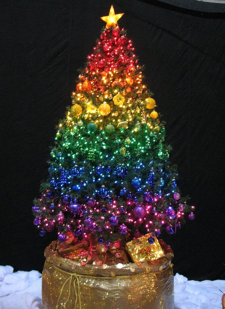 Christmas Tree With Glowing Rainbow Lights