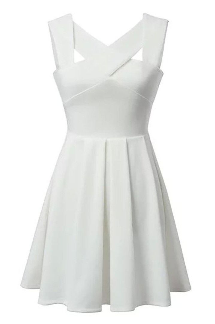 White Front Crossed Fit And Flare Dress