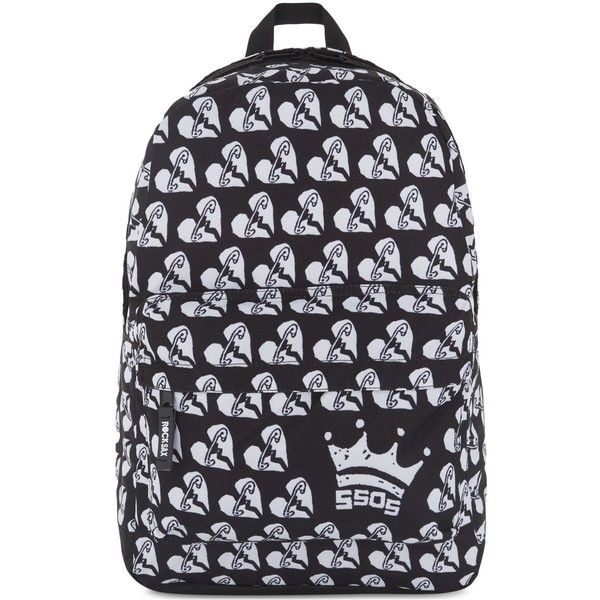 ROCK SAX 5 Seconds of Summer rainbow safety pin heart print backpack ($28) ❤ liked on Polyvore featuring men's fashion, men's bags, men's backpacks and mens one strap backpack