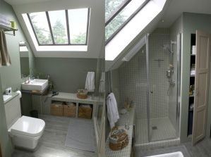 Un petite salle de bains sous les combles
