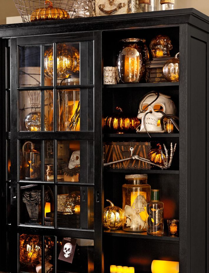 cabinet of curiosities a great way to utilize the china cabinet for halloween decoratingparties - Beautiful Halloween Decorations