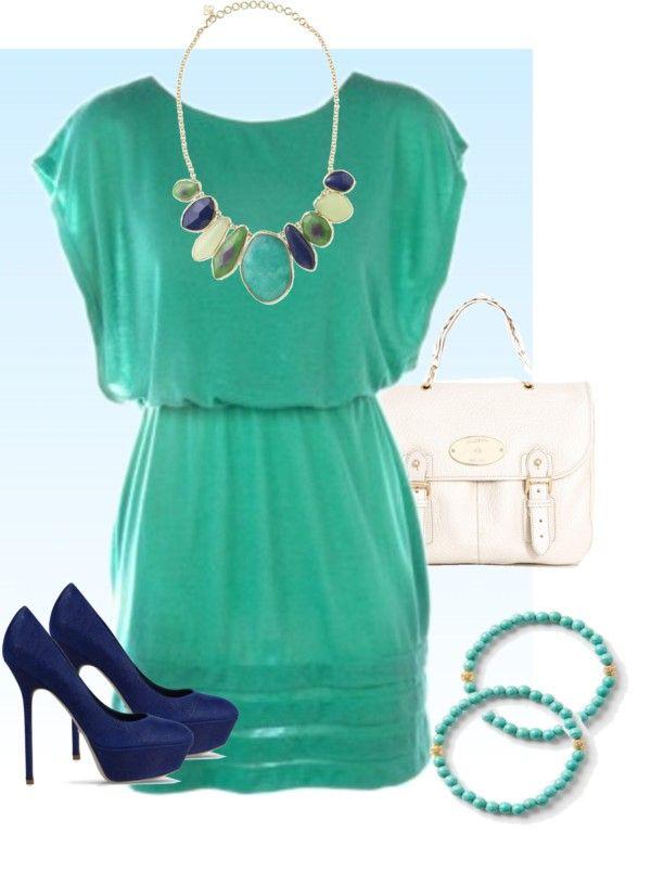 { Date Night } Teal flutter dress, bauble necklace, teal bracelets, royal blue pumps.
