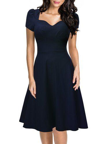 Standesamt Kleid: Missmay Damen Knielang V-Ausschnitt Business Abenkleid Festlich Partykleid Blau Gr.XXL