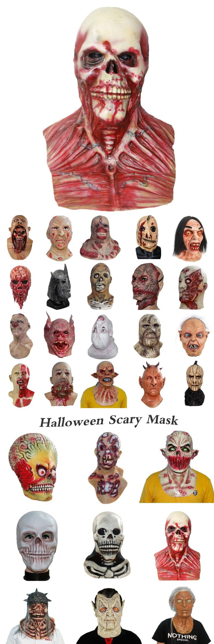X-MERRY TOY Realistic Scary Monster Skeleton Costume Latex Mask Alien Freddy Kluge Gollum Horror Skull Zombie Masks For Cosplay