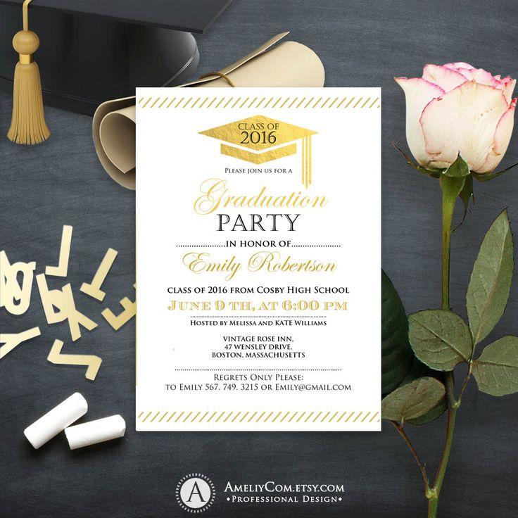 Graduation announcement printable Gold foil College Graduation invitation template instant download High School graduation party invitation