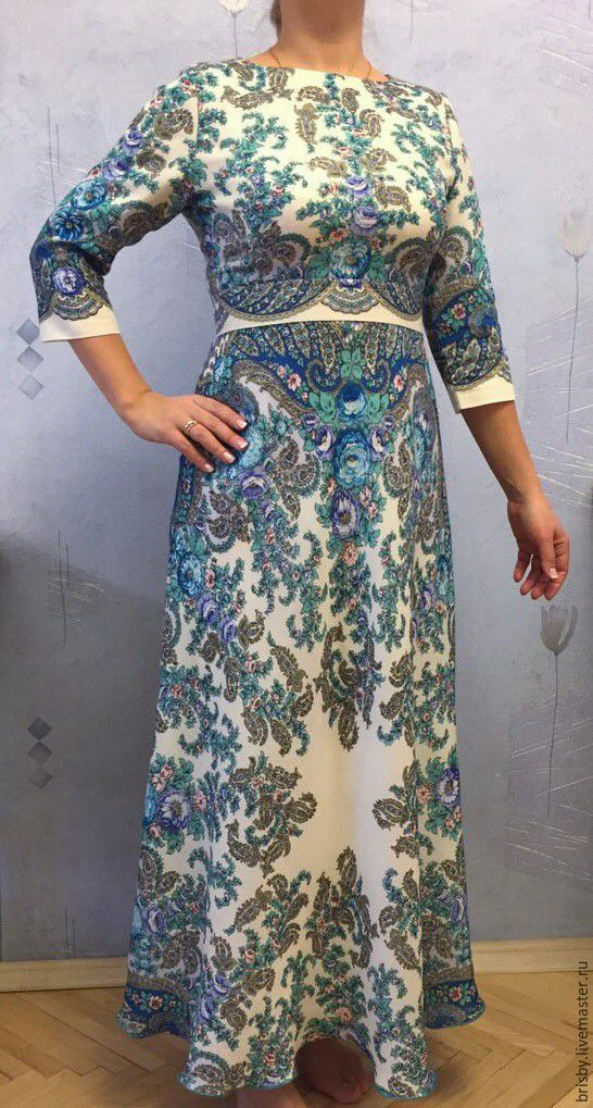 """Купить Платье в пол из павловопосадских платков """"Весенний ручеек"""" - морская волна, пейсли, платье из платков"""