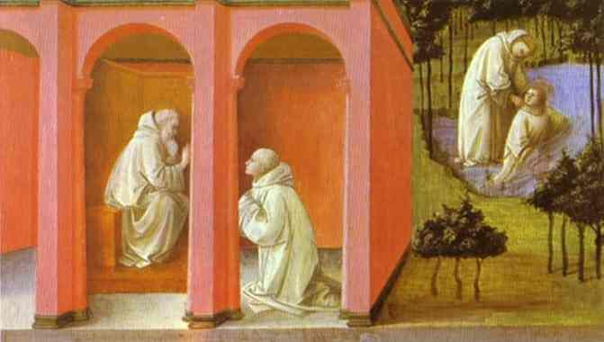 This painting details both Saint Benedict and Saint Maurus, who was Saint Benedict's first disciple. Saint Maurus lived from 512-584. Here, Saint Benedict is ordering Saint Maurus to rescue Saint Placidus. This was painted by Fra Filippo Lippi in 1445.
