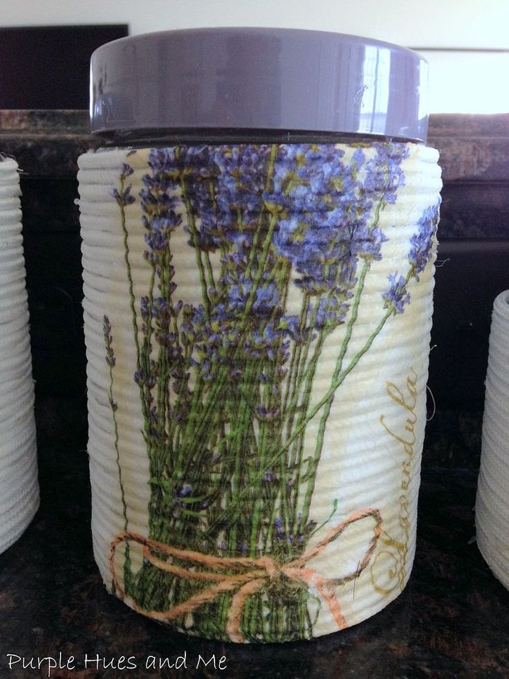Wrapped Rope On Glass Containers With Decoupage Napkins