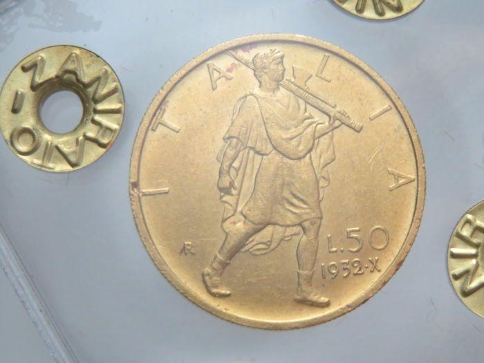 Koninkrijk Italië - 50 Lira 1932-jaar 10 E.F. Vittorio Emanuele III - goud  EUR 360.00  Meer informatie