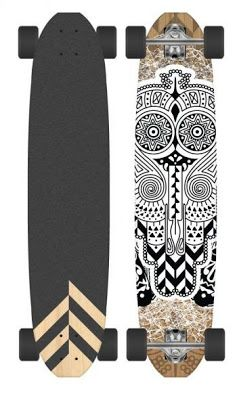 This longboard is awesome! It could work for both guys and girls. I love how the artist took some of the grip off the back top of the board to create a design. The design on the bottom of the board looks very Aztec and even a little bit like a optical allusion. The artist also did a really good job of centering the design.