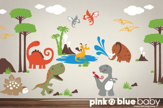 7 Inspiring Kid Room Color Options For Your Little Ones: Wall Decal, Dinosaur Nursery Kids Wall Decal