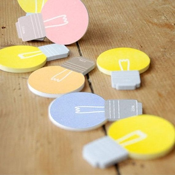 Cute sticky notes, Bookmark, Bulb sticky notes